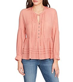 William Rast Atwood Pintuck Solid Peasant Top