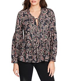 William Rast Atwood Pintuck Paisley Peasant Top