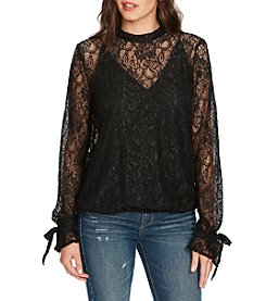 William Rast Mock Neck Lace Illusion Peasant Top