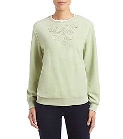 Alfred Dunner Petites' Classic Floral Fleece Top