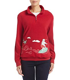 Alfred Dunner Petites' Surfing Santa Top