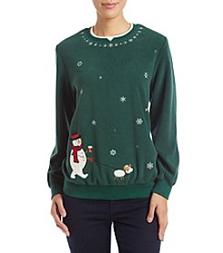 Alfred Dunner Petites' Snowman And Dog Sweater