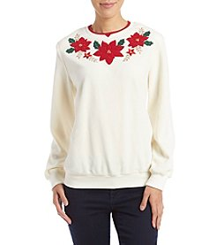 Alfred Dunner Petites' Poinsettia Sweater