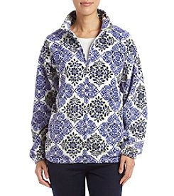 Alfred Dunner Petites' Floral Diamond Polar Fleece