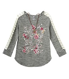 Beautees Girls' 7-16 Long Sleeve Hope Floral Top