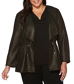 Rafaella Plus Size Gold Foil Mesh Knit Jacket