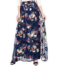 Standards & Practices Iris Full-Length Floral Mesh Long Skirt