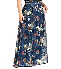Standards & Practices Iris Plus Size Full Length Floral Mesh Long Skirt