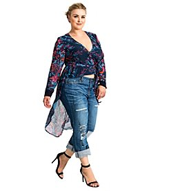 Standards & Practices Haliyah Plus-Size Floral Wrap Print Top