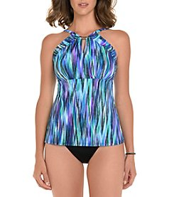 Trimshaper Abstract Waterfall Print High Neck Tankini Top