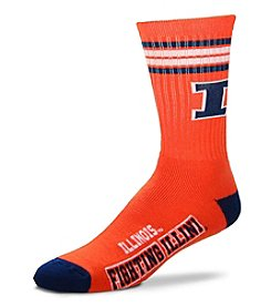 For Bare Feet NCAA® University of Illinois 4-Stripe Deuce Crew Socks