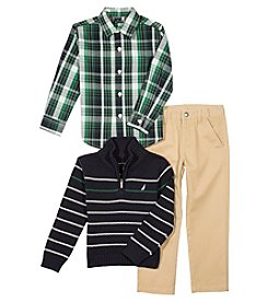 Nautica Boys' 2T-7 Sweater, Collared Shirt And Pants Set