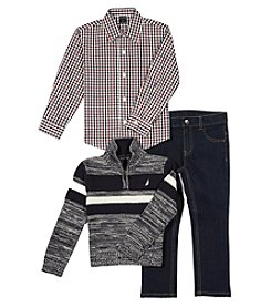 Nautica Boys' 2T-7 3 Piece Sweater Shirt And Jeans Set