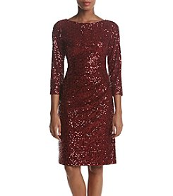 Jessica Howard Sequin Side Ruched Cocktail Dress