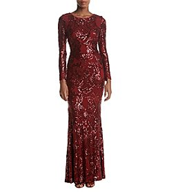 Betsy & Adam Long Sequin Gown