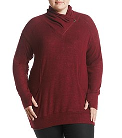 Chelsea & Theodore Plus Size Cowl Neck Zip Detail Sweater