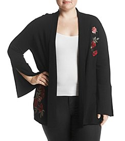 Fever Plus Size Floral Embroidery Detail Cardigan