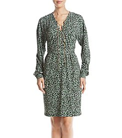 MICHAEL Michael Kors Multicolored Abstract Pattern Metal Lace Up Dress