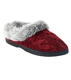 Dearfoams Women's Red Cable Knit Clog Slippers