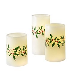 Order Home Collection 3 Piece Holly LED Candles