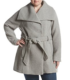 Steve Madden Plus Size Asymmetrical Belted Walker Jacket