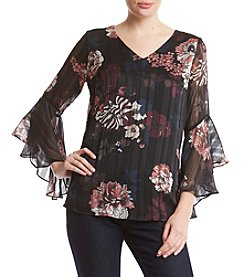 AGB Floral Print Sheer Bell Sleeve Top