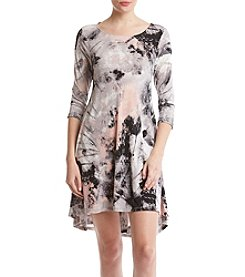Nina Leonard Abstract Paint Pattern High Low Hem Dress