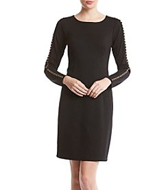 Nina Leonard Grommet Detail Sheath Dress