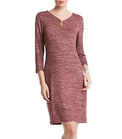 Nina Leonard Zip Neckline Spacedye Dress