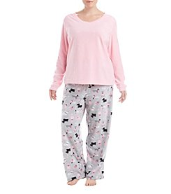Intimate Essentials Plus Size V-Neck Pajama Set