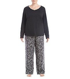 Intimate Essentials Plus Size Flanel Notch Collar Pajama Set