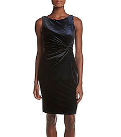 Calvin Klein Twist Front Velvet Sheath Dress