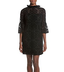 Calvin Klein Lace Ruffle Mock Neck Dress