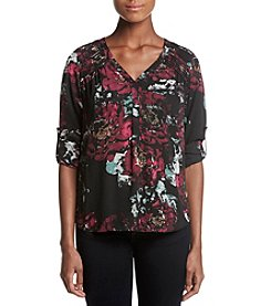 Black Rainn Pleated Shoulder Floral Print Top