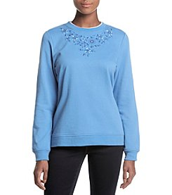 Breckenridge Floral Graphic Stud Detail Crewneck Sweatshirt