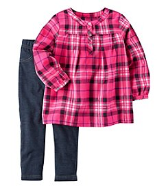 Carter's Girls' 2T-6X Plaid Flannel Top and Leggings Set