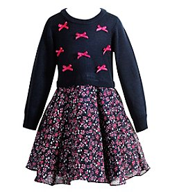 Sweet Heart Rose Girls' 2T-4T Long Sleeve Bow & Floral Dress
