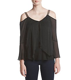 A. Byer Off The Shoulder Jewel Neck Stripe Top