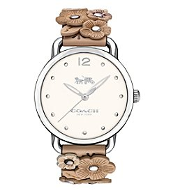COACH Women's Delancey Leather Strap Watch With Floral Applique