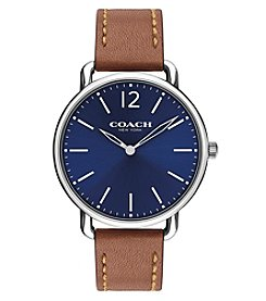 COACH Men's 40mm Delancey Leather Strap Watch with Blue Dial