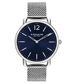 COACH Men's 40mm Delancey Stainless Steel Mesh Strap Watch with Blue Dial
