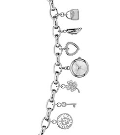 Anne Klein Diamond Dial Charm Bracelet Watch with Swarovski Crystals