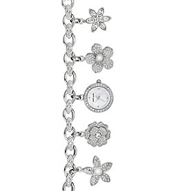 Anne Klein Charm Bracelet Watch with Swarovski Crystals