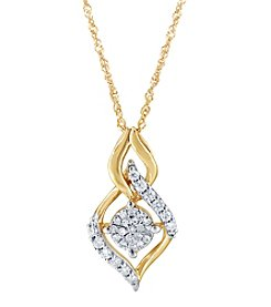 10K Yellow Gold Diamond Drop Cluster Pendant Necklace