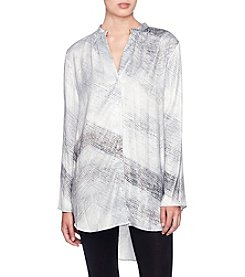 Joan Vass Button Front Stripe Pattern Blouse