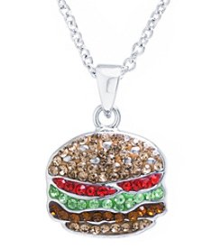 Athra Crystal Pave Hamburger Necklace