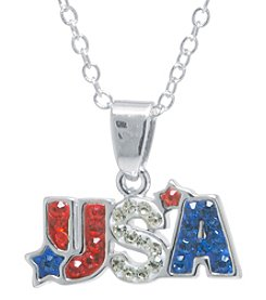 Athra Crystal Pave Usa Necklace