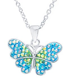 Athra Crystal Pave Butterfly Necklace