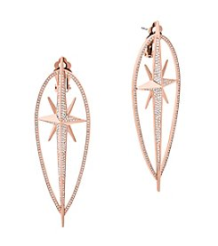 Michael Kors Rose Goldtone Clear Star Earrings