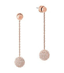 Michael Kors Rose Goldtone Pave Drop Earrings